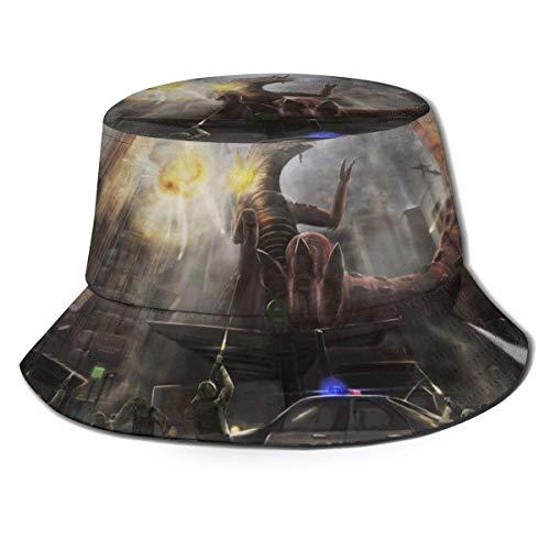 dongwan Godzilla King Monsters - Sombrero de pescador transpirable con impresión completa Folle Buet, sin deformación, adecuado para cualquier estación, unisex