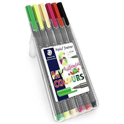 Staedtler Triplus Fineliner Pens - 0.3mm - Dry Safe - Watermelon Colours - Wallet of 6