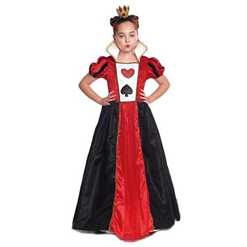 Disfraz Reina de Corazones niña【Tallas Infantiles 3 a 12 años】(7-9 años) Disfraz Niña Carnaval Cuentos Películas Alicia en el País de Las Maravillas