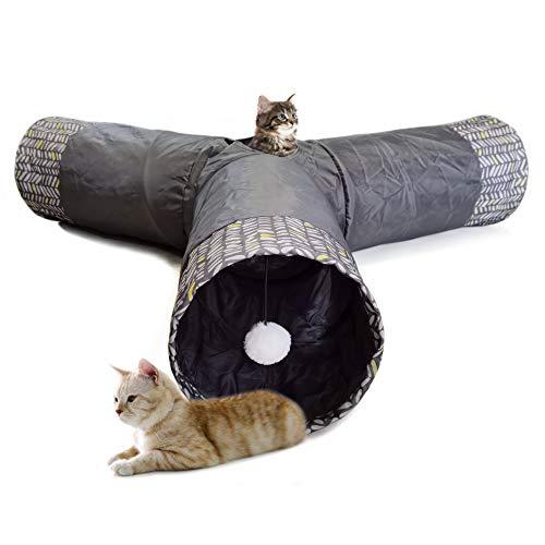 LeerKing Tunnel Giocattolo per Gatto Pieghevole Tubo Sottile di Gioco Traspirante Giocattolo Interattivo con Palla Giocattolo di Addestramento per Gatto Gattino Coniglio 3 Fori