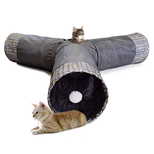 LeerKing Cat Rabbit Tunnel Toy Tube Grey 3 Way Long Indoor Outdoor Tunnel Tent Hide Seek Tube with Ball for Kitten Bunny and Other Animals