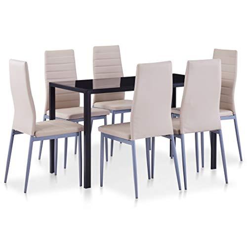 vidaXL Essgruppe 7-TLG. Esszimmertisch Esstischset Esszimmergarnitur Küchentisch Esszimmer Stuhl Tisch Sitzgruppe Esstisch mit 6 Stühlen Cappuccino-Braun