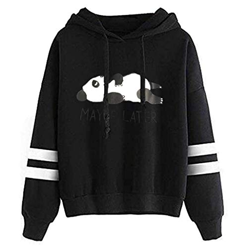 L9WEI Damen Mädchen Sweatshirts Cartoon Cute Panda Printing Lang Sleeve Hoodie Tops Herbst Street Wear Drucken Dünner Pullover Schön Lose Pullover