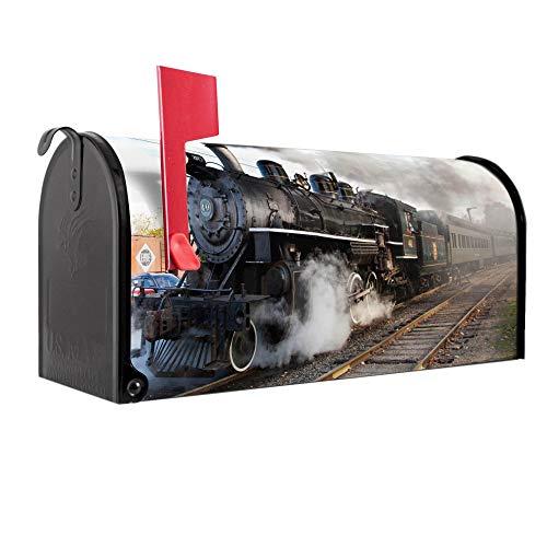 BANJADO US Mailbox | Amerikanischer Briefkasten 51x22x17cm | Letterbox Stahl schwarz | mit Motiv Dampflok
