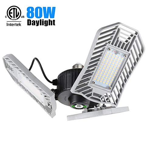 JMTGNSEP LED 80W 8000 Lumen Deformable with 3 Adjustable Panels E26 Shop Lights for Garage Workshop Basement(Non Motion Activated), Daylight, White