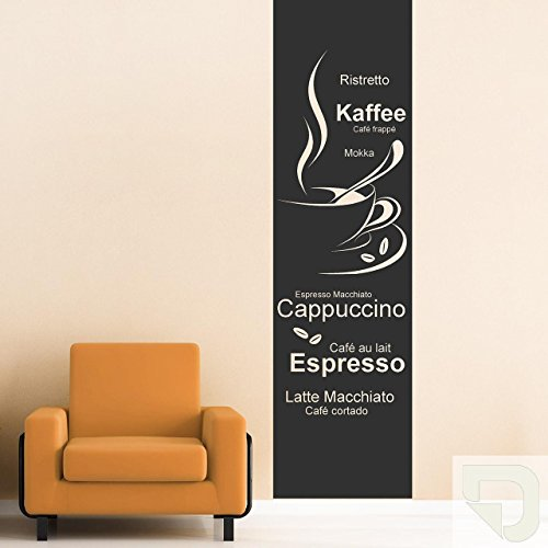 DESIGNSCAPE® Wandtattoo Banner Kaffeesorten, Ristretto, Kaffee, Café fappé, Mokka, Espresso Macchiato, Cappuccino... 73 x 260 cm (Breite x Höhe) creme DW803109-L-F102