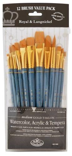 Royal and Langnickel RSET-9305 - Set di pennelli medi con ghiera dorata e setole in taklon, confezione da 12