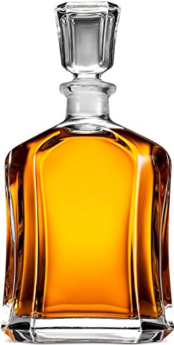 Glass Decanter with Airtight Geometric Stopper - Whiskey Decanter