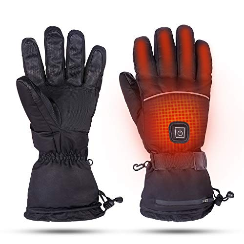 BRIGENIUS Heated Gloves, Winter Gloves for Men and Women, 3 Heating Levels Electric Rechargeable Touchscreen Waterproof Heated Gloves for Skiing MotorcycleSnowboarding Fishing Hiking Climbing