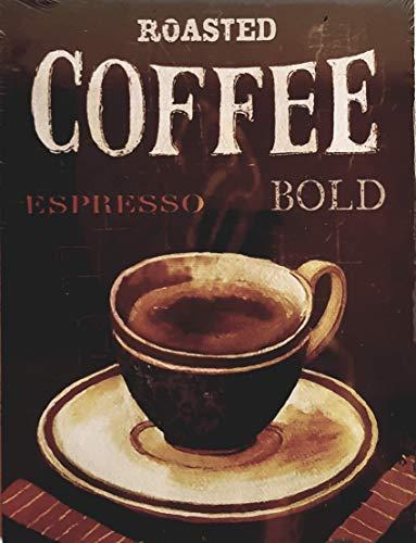 MR Cuadro de Madera Vntage Roasted Coffee Espresso Taza Azul, 24x18x1 cms
