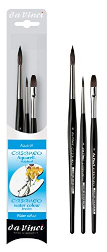 da Vinci Watercolor Series 5386 Casaneo Paint Brush Set, New Wave Synthetics, 3 Brush Set