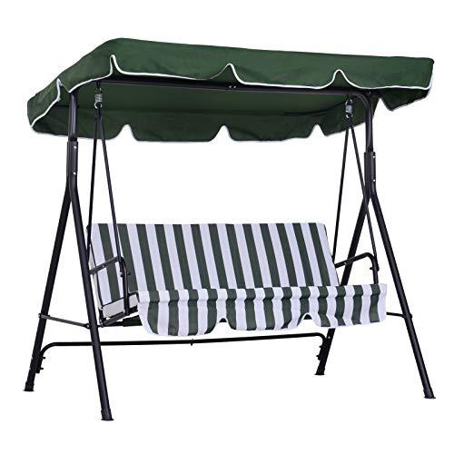 Outsunny Balancelle de Jardin 3 Places Toit Inclinaison réglable Coussins Assise et Dossier 1,72L x 1,1l x 1,52H m Acier Noir Polyester Vert