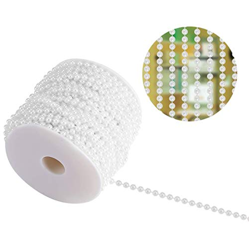 50M/Roll 4mm Pearl Bead String, Fishing Line Faux Half Round Pearls String Beads Chain Garland Strand String for Christmas Cheer Wedding Party Home Decoration Craft (White)