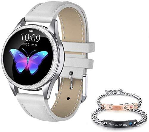 Smartwatch KW10 IP68 - Reloj inteligente para mujer, impermeable, compatible con Android IOS KW20 KW10 Pro-KW20, color blanco