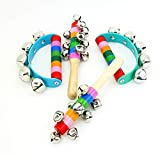 TangTanger 4 Pcs Color Rainbow Handle Wooden Bells Jingle Stick Shaker 5/10 Jingle Bells Musical Toys