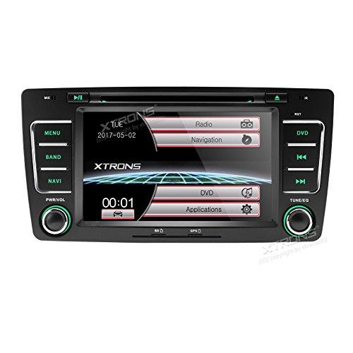 XTRONS - Radio estéreo para coche de 7 pulgadas, reproductor de DVD GPS, navegador, doble canbus digital, espejo, enlace para Skoda
