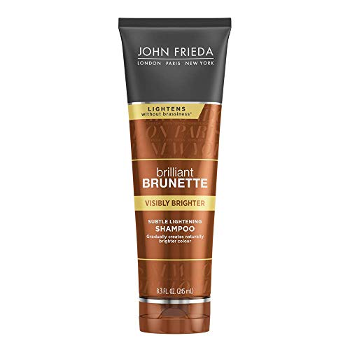 John Frieda Brilliant Brunette Visibly Brighter Subtle Lightening Shampoo, Eliminates Neutral Tones, Sleek Brown Shine, 8.3 Ounces, with Honey and Marigold Extract