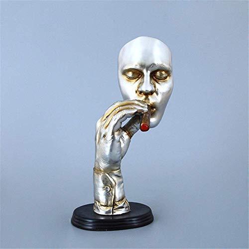 Ayanx Statues abstraites Sculpture Homme fumant cigare Visage humain Statue ornement personnage résine Figurine oeuvre décorations Pour la Maison, Argent