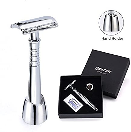 Retro Safety Razor, Raphycool Long Handled Safety Razor Shaving Kit 3 in 1 With Handled Stand, 5 Double Edged American Platinum Blades for Smooth Wet Shaver Travel Gift Box