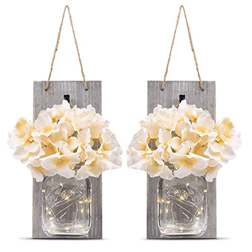 Mason Jar Sconce Rustic Home Wall Decor with LED Fairy Lights - Handcrafted Hanging Mason Jar Sconces 2 Pack, Infinite Loop Timer Switch and 30 LED (Grey board)