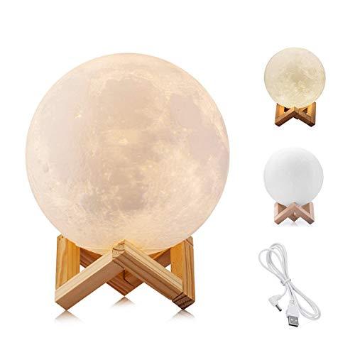 WYCY Lámpara Luna Control Tactil Luna Lámpara Impresión 3D 2 Colores Lámpara Luna LED con Soporte y Carga USB,Regalos para el Cumpleaños del Amante del Amigo (8CM)