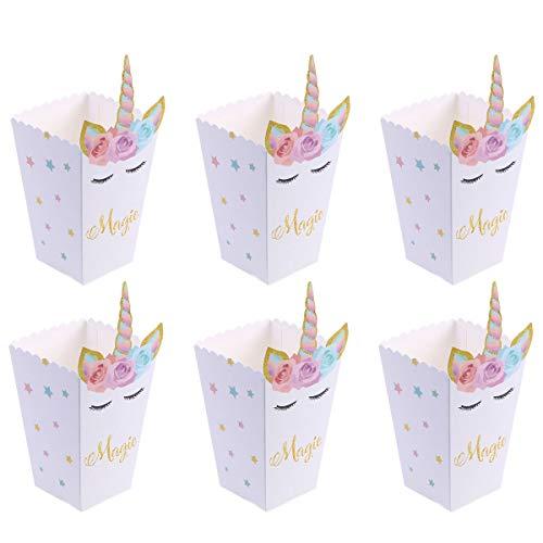 TOYMYTOY 12pezzi Scatole di Popcorn Boxes Unicorn Popcorn Sacchetti Scatola Popcorn per Matrimonio Compleanno