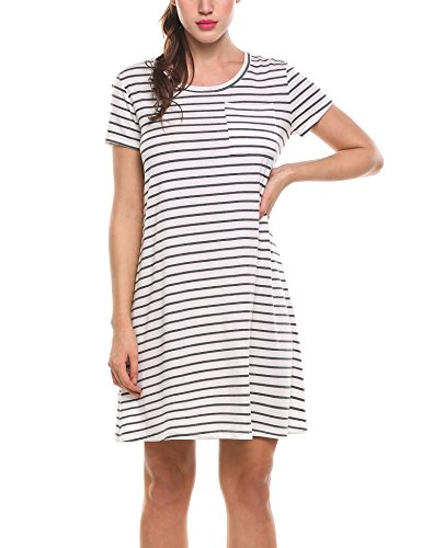 Zeagoo dames gestreepte jurk ronde hals A-Line vrijetijdsjurk basic blouse-jurk kinelang korte mouwen casual A-Line