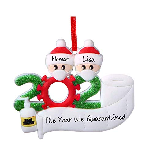 HOMINE 2020 Personalized Christmas Ornament for Quarantine Family, [Ideal for Memorizing 2020] Customized Name for Family & Friends, DIY Creative Gift Christmas Decorations Home Decor (Family of 2)
