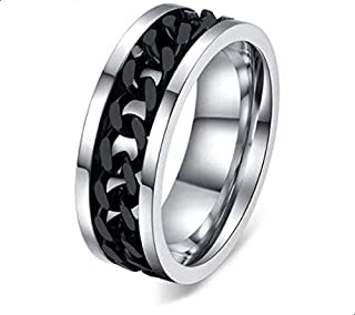 Men's Ring Made of and Ringed with Black Chains size 7
