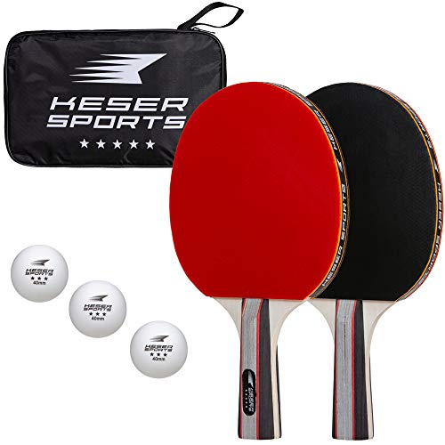 Purchase Keser Sports 5-Star Ping Pong Paddle Set – 2 Player Racket Set Bundle with 3 Professional...