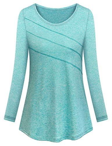 Yoga Shirts for Women Loose Fit,Cucuchy Workout Tops Long Sleeve Running Casual Exercise Clothes Roomy Chic Pilates Baseball Jumping Outfits Breathable Comfy Climbing Tunics Green XXL