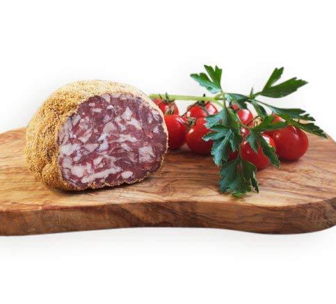 Spezialität aus Friaul: Hirschsalami in Polentamehl-Mantel geräuchert 230gr