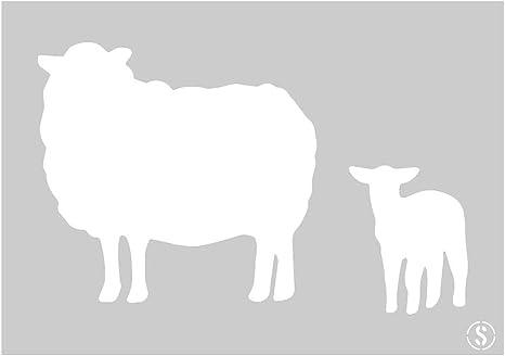 Reusable Stencil 10211S Sheep and Lamb Stencil A4 Size Small The Stencil Studio Ltd