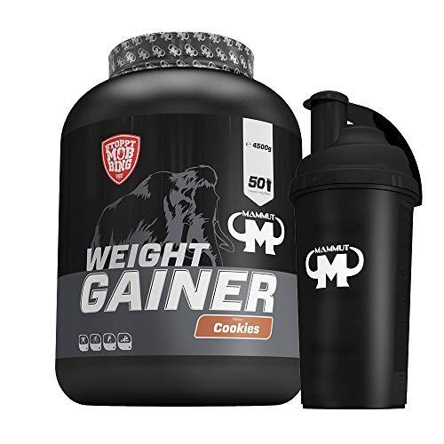 4,5kg Mammut Weight Gainer Crash 5000 für Hardgainer - Set inkl. Protein Shaker oder Powderbank (Cookies, Gratis Mammut Shaker)