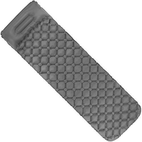 ALPIDEX Isomatte Camping Aufblasbar mit Kissen, Luftsack zum Aufpumpen Ultraleichte rutschfeste Schlafmatte Luftmatratze, Farbe:Grey