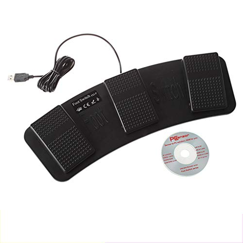Vokmon Interruptor de Pedales de Control de plástico momentáneo Controlador de pie Triple Pedal USB FS3-P USB Pedales Teclado de Control del ratón Interruptor USB