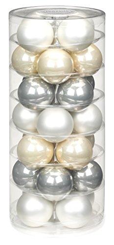 Inge-glas Lot de 28 Boules, Mélange A Winter's Tale, 60 mm, Blanc Mat/Opale Champagne/Gris Perle Clair, 15181D003-MO.