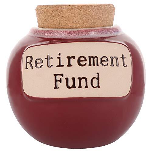 Cottage Creek Piggy Bank, Retirement Fund Money Jar, Round Ceramic Retirement Money Jar with Cork Lid, Retired Savings Bank [Red]