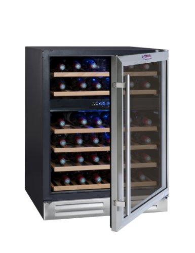 La Sommelière CVDE46-2 Weinkühlschrank / 83,0 cm Höhe/Multizonen Einbauweinklimaschrank mit Kompressor/Digital-Anzeige der Temperatur/edelstahl und schwarz