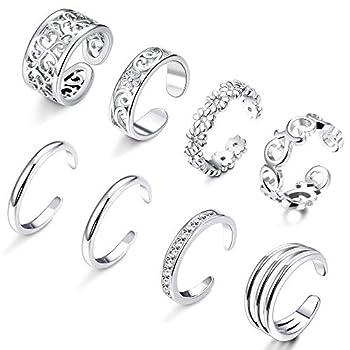 FIBO STEEL 8 Pcs Open Toe Rings for Women Girls Flower Hollow CZ Band Vintage Toe Ring Set Adjustable Silver-Tone
