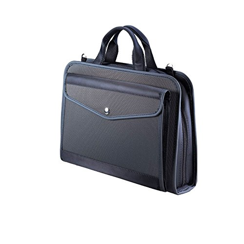 KINARY Expanding Professional Large Size Business Briefcase,6-Pockets Expanding Accordion File Folder,Component (Black)