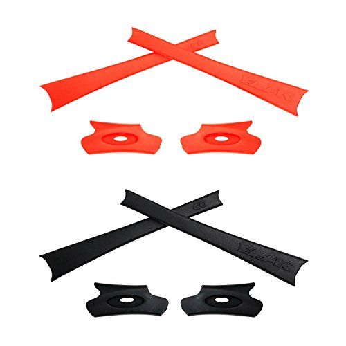 HKUCO Black/Orange Replacement Rubber Kit for Oakley Flak Jacket/Flak Jacket XLJ Sunglass Earsocks