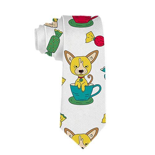 Corbatas para hombres: corbata delgada y delgada para hombre, patrón con corbatas de animales para perros divertidos para cada atuendo