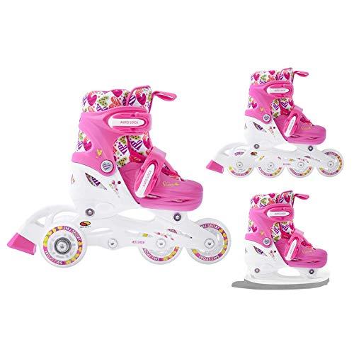 SMJ Hearts Kinder Mädchen Set 3in1 Inliner/Rollschuhe/Schlittschuhe VERSTELLBAR | ABEC5 Inline Skates | Umbaubar zu Eislaufschuhe (XS (26-29))