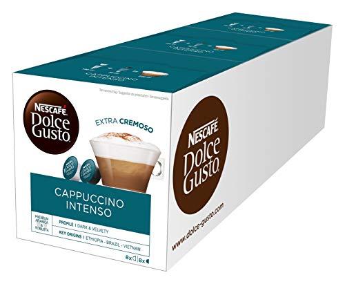 NESCAFÉ Dolce Gusto Cappuccino Intenso | 48 Kaffeekapseln | Arabica und Robusta Bohnen | Intensiver Kaffeegenuss mit lockerem Milchschaum | Aromaversiegelte Kapseln | 3er Pack (3 x 16 Kapseln)