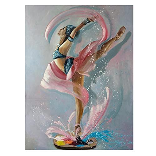 JRLDMD Pintura al óleo de Bailarina sobre Lienzo Abstracto, Carteles e Impresiones, Danza, Ballet, niña, Arte de Pared, Cuadro Decorativo para la decoración de la Sala de Estar, 50x70cmx1 sin Marco