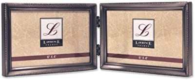 Lawrence Frames Antique Pewter 4x6 Hinged Double Horizontal Picture Frame - Bead Border Design by Lawrence