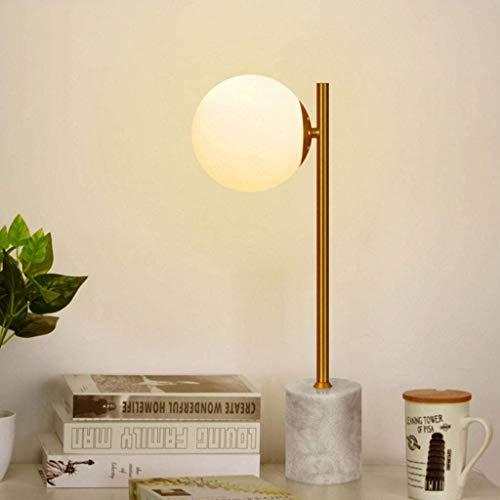 OWEM Tischlampe Nachttischlampe E14 Runder Glaslampenschirm Schlafzimmer Licht Nordic Kreativer Marmortisch Schreibtischlampe Gold-Schlafzimmer Wohnzimmer Schreibtischlampe