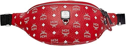 MCM Unisex-Erwachsene White VISETOS Belt Bag Hüfttasche, Viva Rot/Weiß Logo, Medium