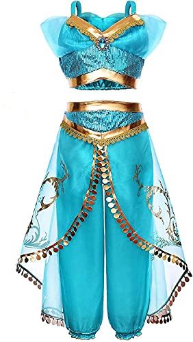 Yigoo Jasmine - Disfraz de princesa de jazmín, vestido brillante para niña, Navidad, carnaval, fiesta, Halloween, fiesta, 150